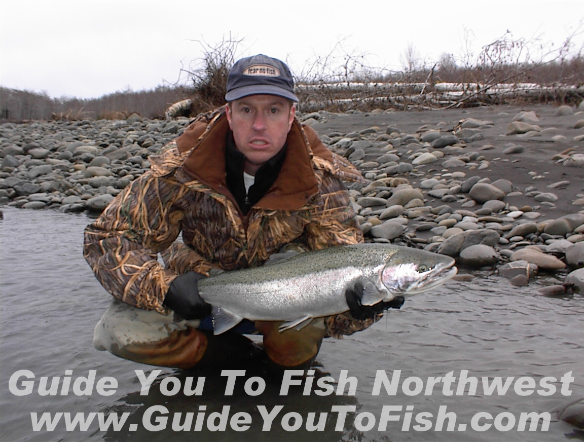 Winter Steelhead Fishing on a Washington Coastal River wearing a Columbia Omni Quad Jacket