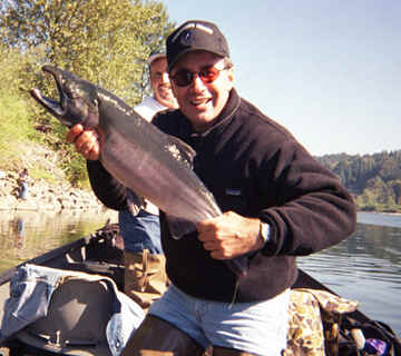 Mike of Fisherman's Heaven TV Show with a nice Snohomish River Coho Salmon (Second Place Winner in the TU Derby)